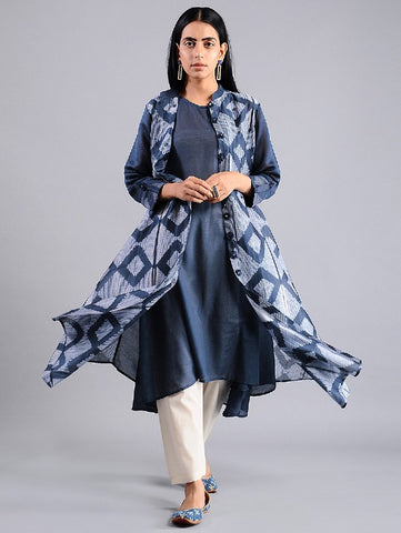 Diamond jacket dress in Indigo (Set of 2) By Sonal Kabra now available at Trendroots