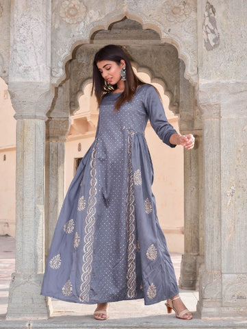 Grey Hand Block Printed Flared Gown by Chokhi Bandhani now available at Trendroots