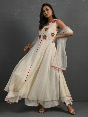 Ivory Hand embroidered Sleeveless Kurta by Sonal Kabra now available at Trendroots
