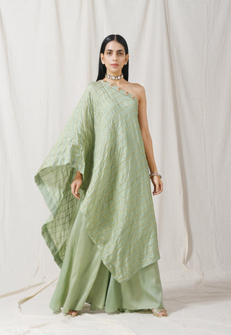 Sage Green One Shoulder Tunic/Palazzo Set of 2 by Label Nitika now available at Trendroots
