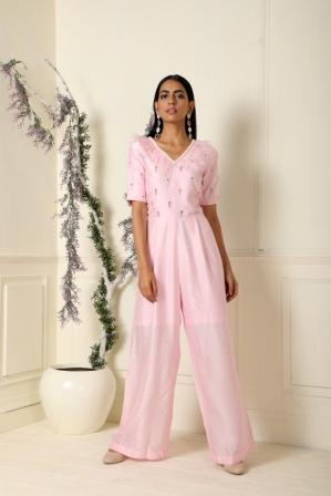 Baby Pink Jumpsuit by Label Nitika now available at Trendroots