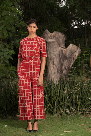 Red Checks Cotton Hand Block Printed Jumpsuit by Medhya now available at trendroots