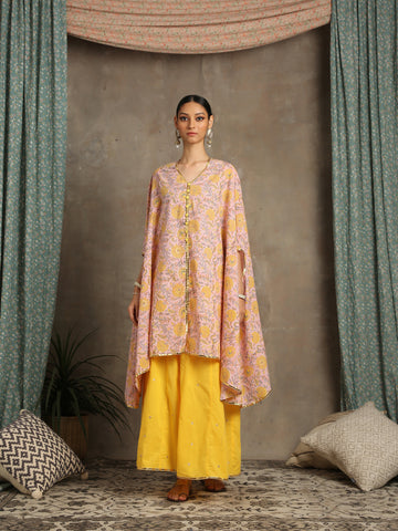 Heer peach cotton cape set by Maison Shefali now available at trendroots