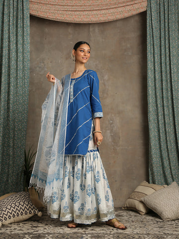 Sharanya- Neel Ivory Blue Cotton Salwar Suit by Maison Shefali now available at Trendroots