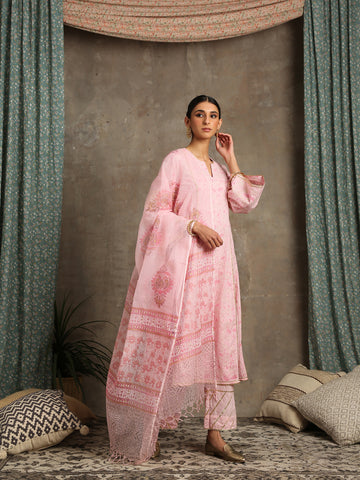 Mehr Gulaab Pink Cotton Printed Salwar Suit by Maison Shefali now available at Trendroots