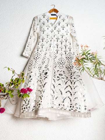 White And Silver Leather Applique Jacket with Lehenga (Set of 2) By Anisha Shetty now available at Trendroots