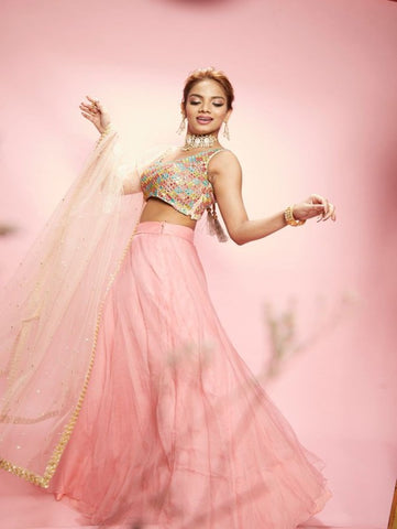 Flamingo Pink Organza Lehenga With Multi Color Mirror Blouse (Set of 2) By Anisha Shetty now available at Trendroots