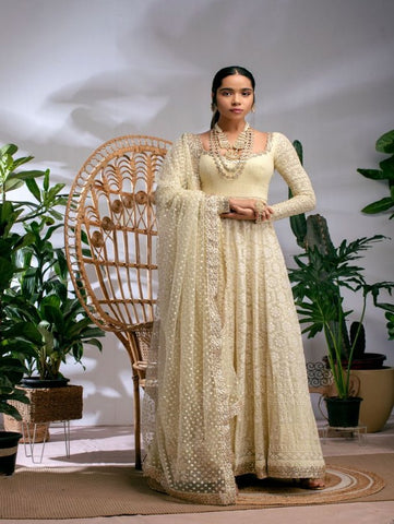 Sugar Cookie Yellow Threadwork Anarkali Set (Set of 2) By Anisha Shetty now available at Trendroots