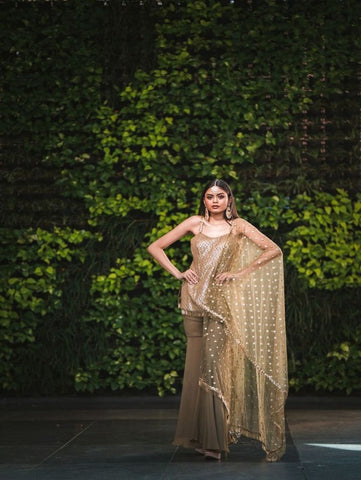Olive Green And Gold Georgette Sharara Set (Set of 3) by Anisha Shetty now available at Trendroots