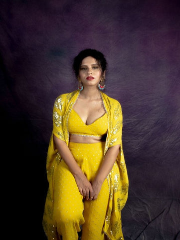 Corn Yellow Palazzo With Crop Top And Cape (Set of 3)By Anisha Shetty now available at Trendroots