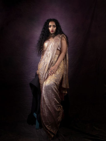 Shimmer Maroon And Gold Prestitched Georgette Saree (Set of 2) By Anisha Shetty now available at Trendroots
