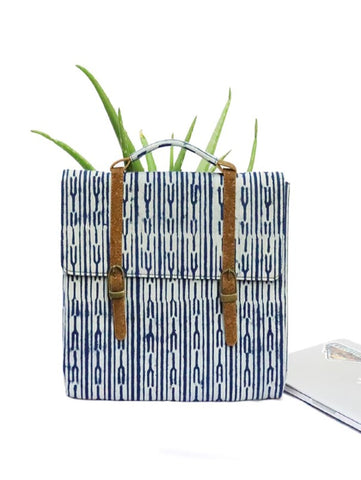 Indigo Fork Vegan Leather and Dabu Print Canvas Laptop Sleeve by Kirgiti Designs now available at Trendroots
