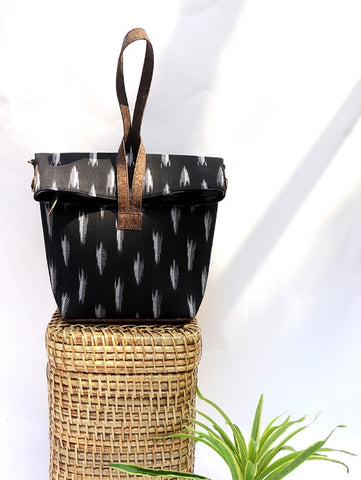 Black Vegan Leather and Ikat Weave Convertible Sling Bag by Kirgiti Designs now available at Trendroots