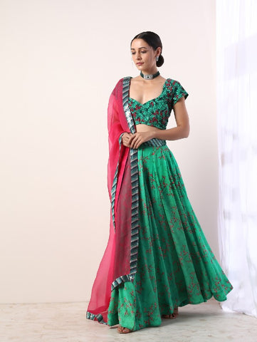 Green Printed Embroidered Lehenga Set (Set Of 3) by Label Nititka now available at Trendroots