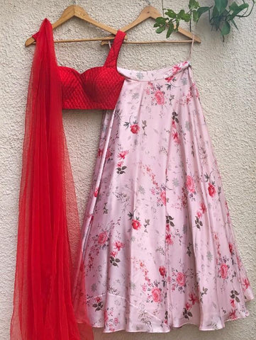 Primrose Skirt with Red Blouse And Tulle Dupatta (Set of 3) by Shrena Hirawat now available at Trendroots