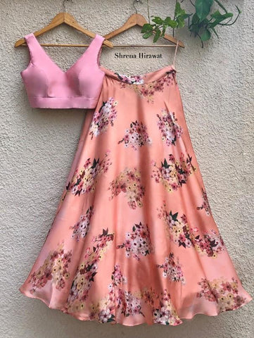 Paradise Skirt with Blush Pink Blouse (Set of 2) by Shrena Hirawat now available at Trendroots