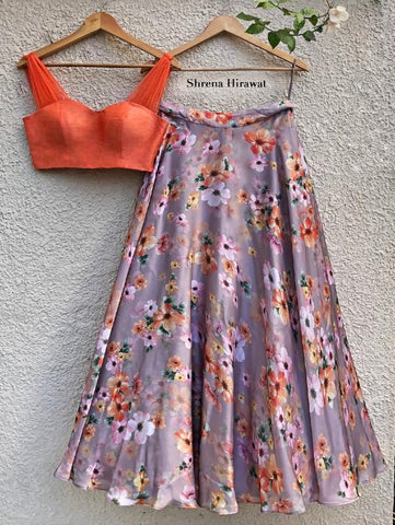 Tigerlily Skirt with Fiery Orange Blouse (Set of 2) by Shrena Hirawat now available at Trendroots