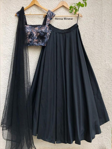 Black Print Bustier With Black Skirt And Tulle Dupatta (Set of 3) by Shrena Hirawat now available at Trendroots