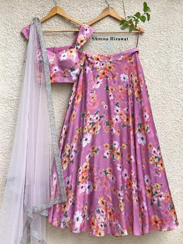 Zephyr Lehenga Set with Lilac Dupatta (Set of 3) by Shrena Hirawat now available at Trendrooots