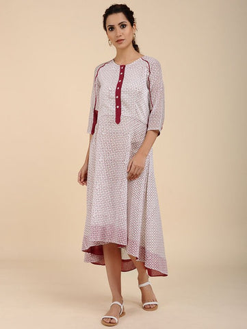 Ivory High Low Flared Dress by Sonal Kabra now available at Trendroots