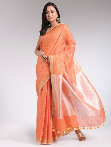 Orange Linen Saree By The Neem Tree now available at Trendroots