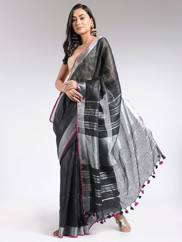 Black Linen Saree By The Neem Tree now available at Trendroots