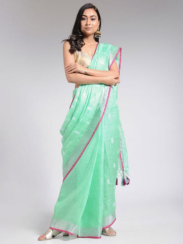 Embroidered Mint Linen Saree By The Neem Tree now available at Trendroots