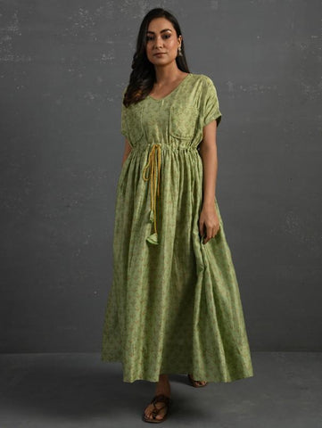 Green Block Printed Handwoven Chanderi Maxi Dress by The Neem Tree Now available at Trendroots