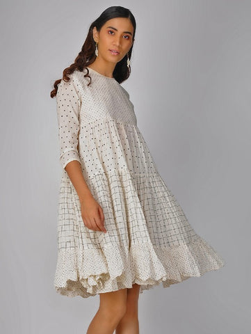 Ivory Tiered Breezy Gather Dress by The Neem Tree now available at Trendroots