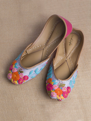 Multi Color Buttercups Silk Juttis by Vareli Bafna now available at Trendroots