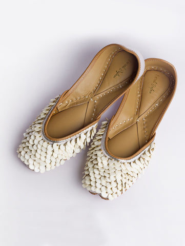 Champa White Sequence Work Juttis by Vareli Bafna now available at Trendroots