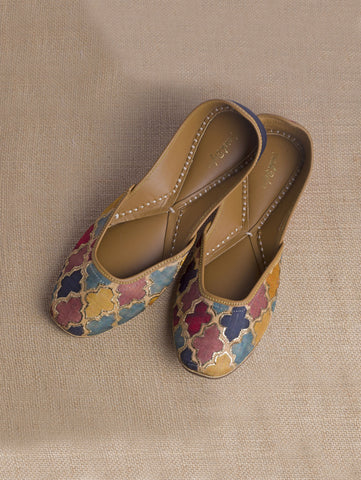 Mughal Jali Multi color Embroidered Juttis by Vareli Bafna now available at Trendroots