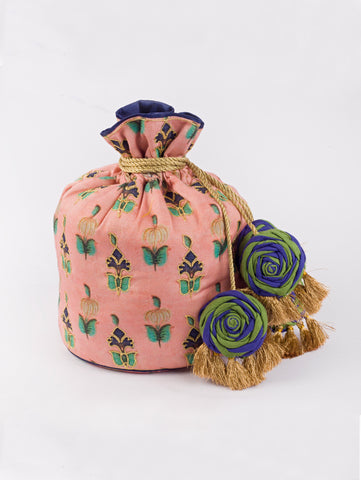 Pink Wall Art Potli Bag by Vareli Bafna now available at Trendroots