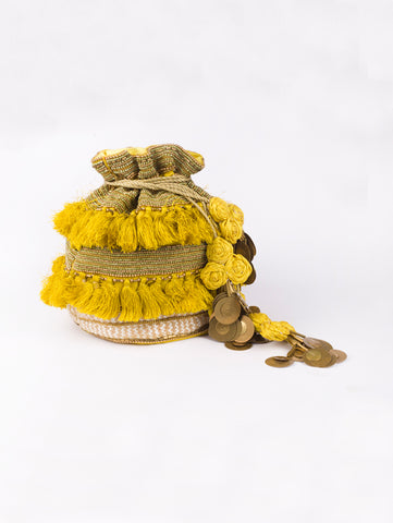 Yellow Tassel Potli Bag by Vareli Bafna now available at Trendroots