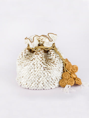 White Champa Potli Bag by Vareli Bafna now available at Trendroots