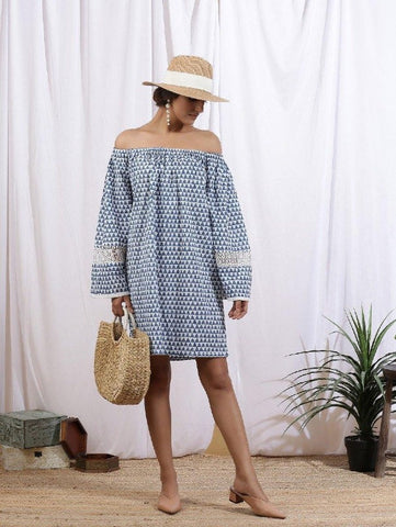Ciel Off Shoulder Dress - Blue Cotton Printed by Maison Shefali now available at Trendroots