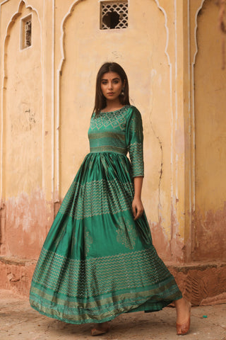 Green Hand Block Printed Silk Gown by Chokhi Bandhani now available at Trendroots