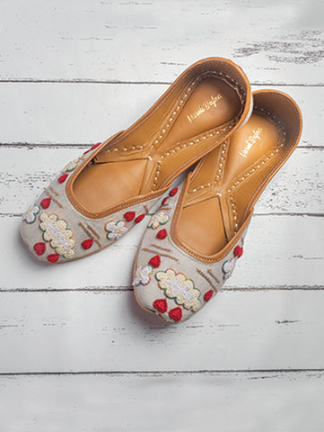 Ash Grey Embroidered Juttis by vareli Bafna now available at Trendroots