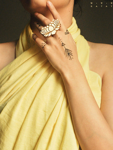 Lotus Handcarved ring by SATAT Jewelry now available at Trendroots