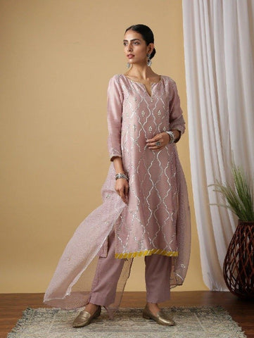 Mauve Chandrika Kurta With Pant & Dupatta (Set of 3) by Maison Shefali now available at Trendroots