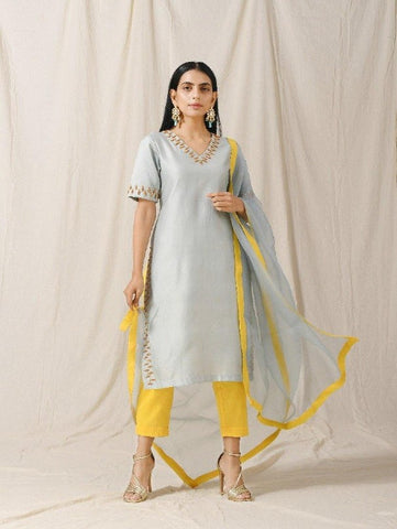 Ash Blue Kurta Pant Set of 3 by Label Nitika now available at Trendroots