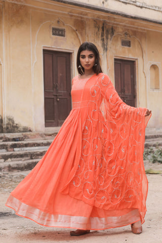 Orange Hand Gota Work Gown With Dupatta Set of 2 by Chokhi Bandhani now available at Trendroots