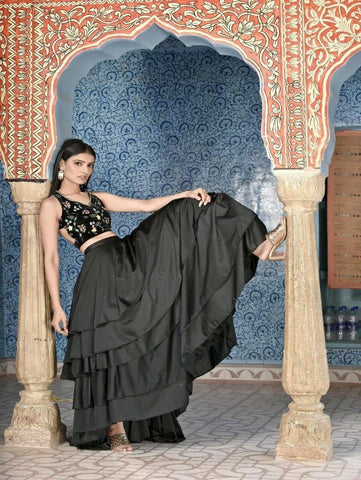 Black Velvet Blouse with High Low Satin Lycra Skirt by Piyanshu Bajaj now available at Trendroots