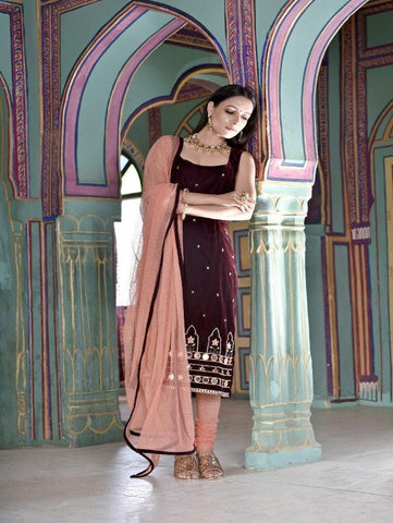 Ruby Wine Velvet Kurta with Tulle Bottom and Dupatta by Piyanshu Bajaj now available at Trendroots