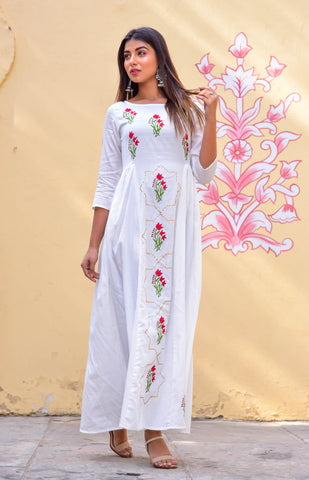 White Hand Block Printed Flared Gown by Chokhi Bandhani now available at Trendroots