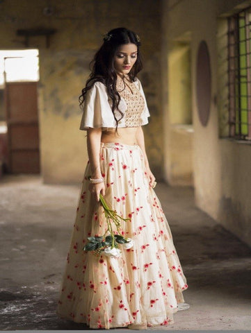 Noor- Ivory Floral Lehenga Set now available at Trendroots