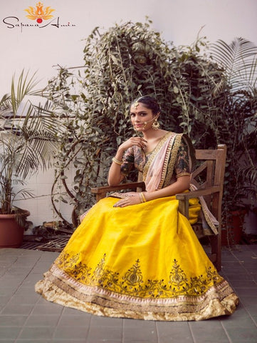 Regal Yellow Lehenga by Sapna Amin now available at Trendroots