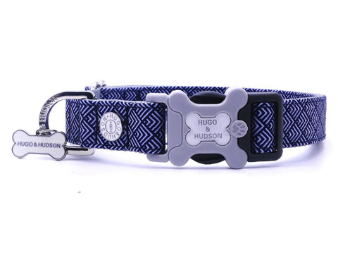 Hugo&Hudson Navy Geometric Dog Collar