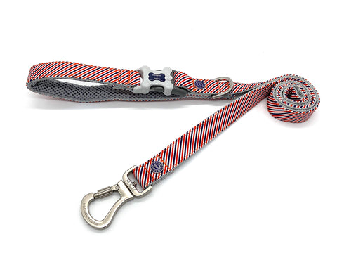 Hugo&Hudson Red White And Navy Stripe Dog Leash