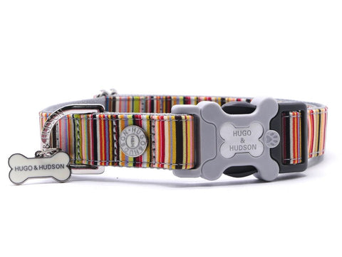 Hugo&Hudson Multi Coloured Stripe Dog Collar